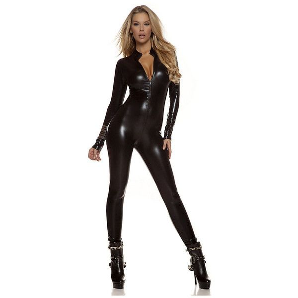 Adult Black Metallic Catsuit Sexy Costume ($55) ❤ liked on Polyvore featuring costumes, halloween costumes, multicolor, colorful halloween costumes, adult cat costume, adult costume, sexy halloween costumes and sexy cat costume