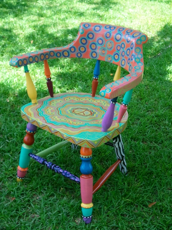 Multicolor Vintage Chair Painted in Mizippihippi by mizippihippi, $295.00