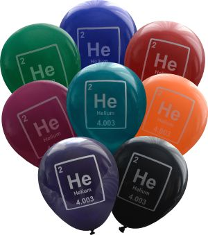 """""""Helium"""" balloons. Periodic table humour. Find more science gifts and ideas for physics, chemistry, biology, statistics and computer science lovers at www.nerdywords.ca."""