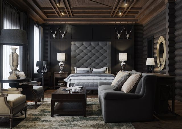 Deep, dark monochromatic colors with silver accents and rich texture.