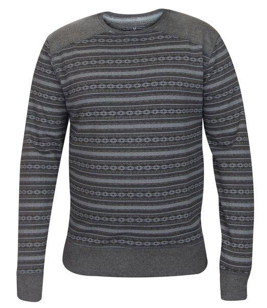 Mens Aztec Print Sweat Shirt Casual Fleece Pullover Crew Neck jumper Top