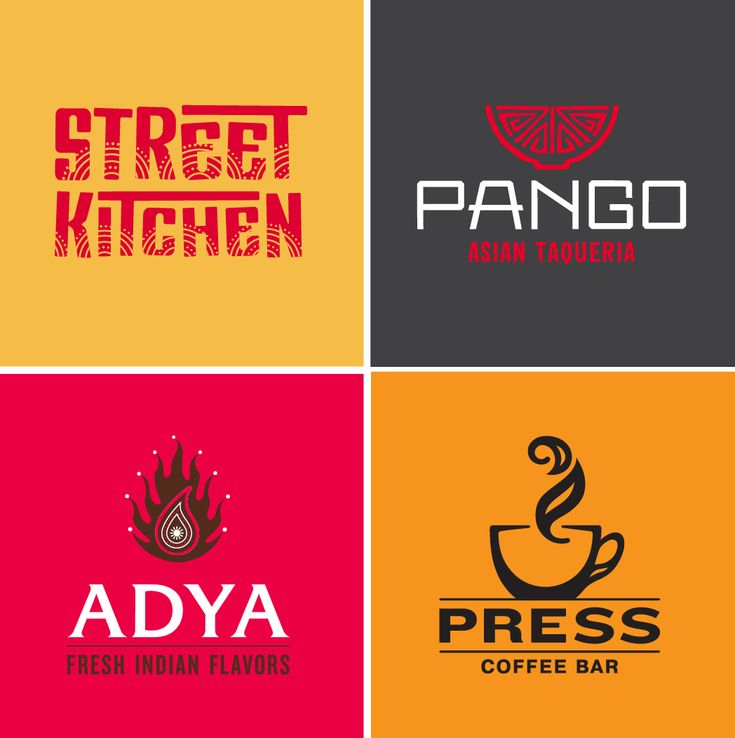 Seth Design Group - sethdesigngroup.com - Street Kitchen, Indian Restaurant Logo / PANGO, Asian Fusion Restaurant Logo / ADYA, Indian Restaurant Logo / PRESS, Coffee Shop Logo
