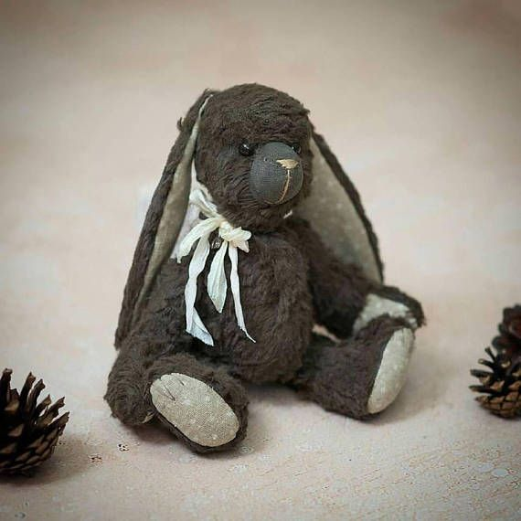 OOAK  Teddy bear friends Vintage brown Bunny handmayd Height