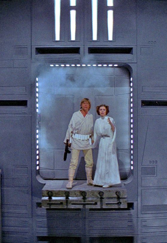 Star Wars Episode IV A New Hope. Luke Skywalker and Princess Leia Organa. Mark Hamill and Carrie Fisher.