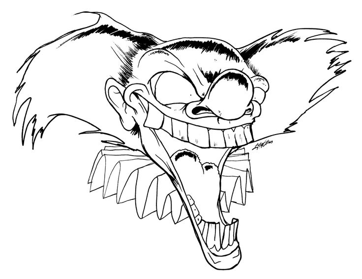 scary clown coloring page az coloring pages