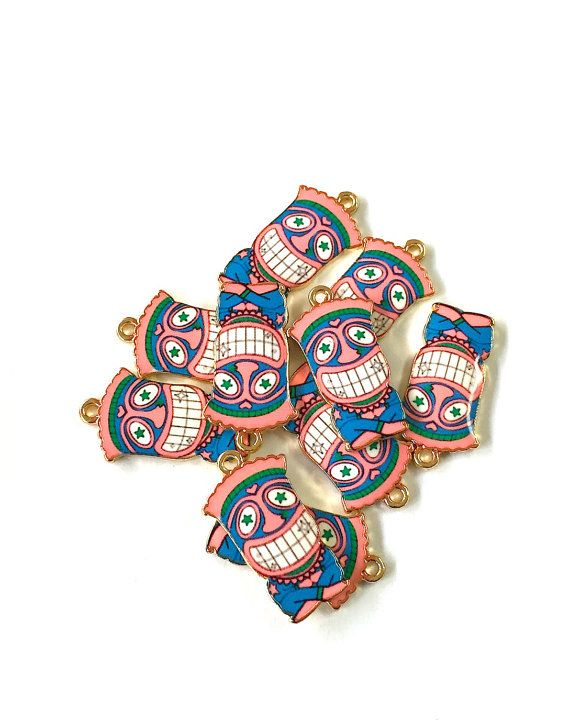 Pink Cartoon Witch Doctor Tribal Charms 4pcs by KajaSupplies