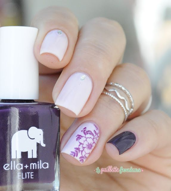 Ella + Mila little plum dress and stuck on you - elegant floral pink and plum nail art - http://lapaillettefrondeuse.blogspot.be/2015/09/ella-mila-prune-elegante.html