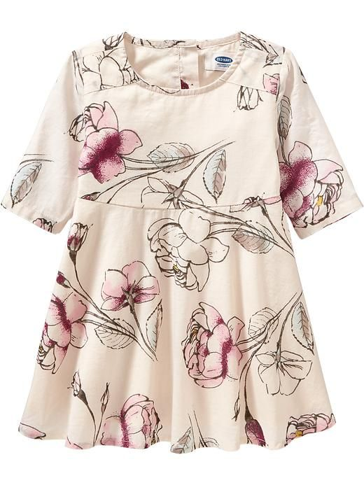 Floral-Print Dress for Baby - Old Navy -- 100% cotton; Rounded neckline at front; 2 buttons at back; 3/4-length sleeves; A-line cut with empire waist; Circle skirt is full and flouncy; Soft, lightweight poplin shell; fully lined.