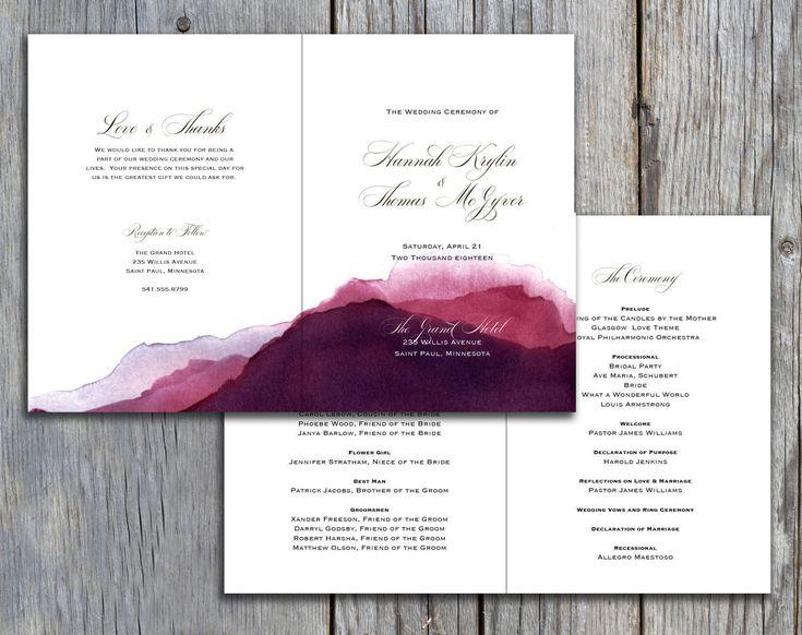 mountain dusk watercolor design folded 5x7 wedding program church ceremony bulletin