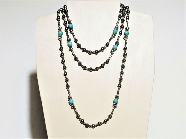 Long and Luxurious Necklace - Turquoise Howlite and Pyrite