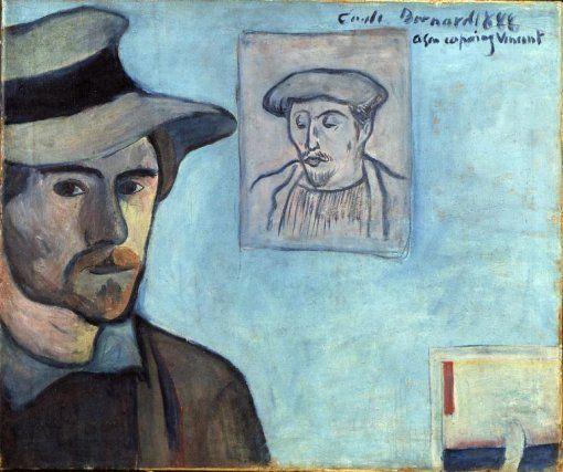 Emile Bernard, Self-Portrait with Gauguin Portrait, 1888Vincent Vans, Emil Bernards, Paul Gauguin, Vans Gogh, Self Portraits, Ponte Avene, Émile Bernards, Gogh Museums, Van Gogh