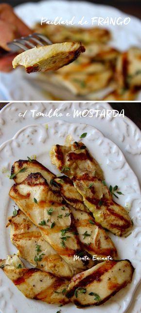 Paillard de Frango, filés finos de peito de frango carne suculenta! É temperado apenas com mostarda e folhas frescas de tomilho e delicioso!