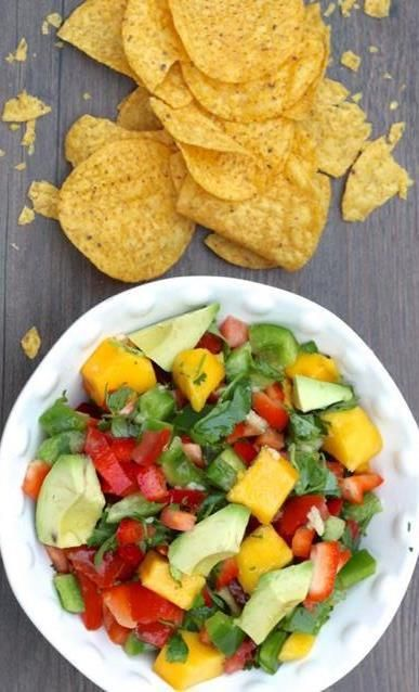 We cant stop snacking on this yummy mango salsa recipe!