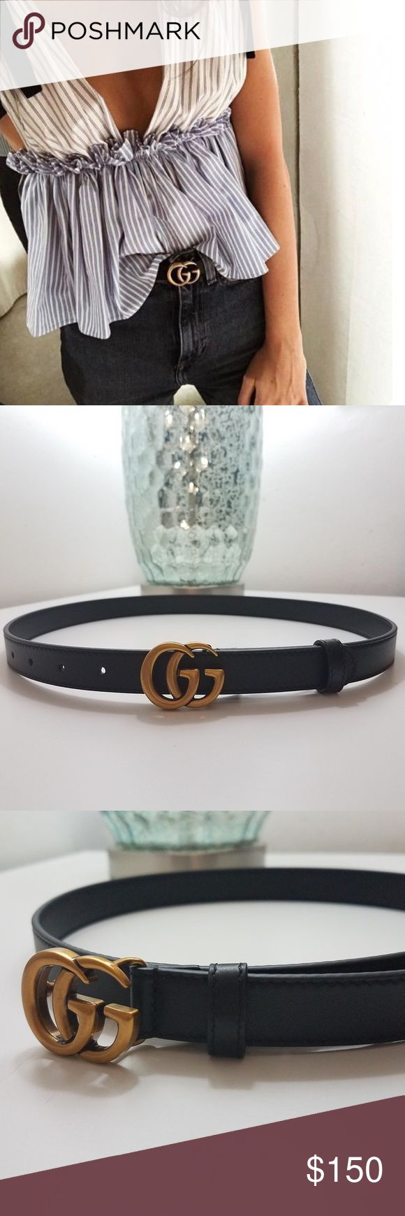 """Gucci Belt This thin Gucci belt made in smooth leather with double G buckle. This was an awesome addition to my wardrobe but it became a bit too small. Just purchased a larger size and this one needs a new home. To all my small waisted ladies, this is a euro size 80 which fits approximately a 25-27 waist. *priced to sell, half off retail price. Comes with dust bag   Antique brass hardware Double G buckle Hip or waist belt .5"""" width Made in Italy Gucci Accessories Belts"""
