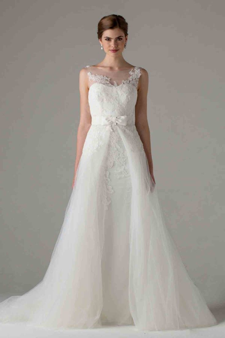 Romantic Illusion Natural Train Tulle Ivory Sleeveless Wedding Dress with Appliques and Ribbons LWXT1508D #dress #landybridal