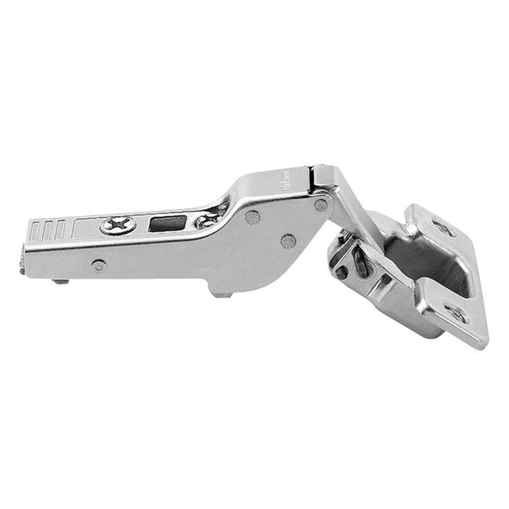 (Grey) 110-degree Half-cranked Clip-top Overlay Screw-on Self-closing Cabinet Hinge (110 Degree Half Cranked Clip Top Hinge)