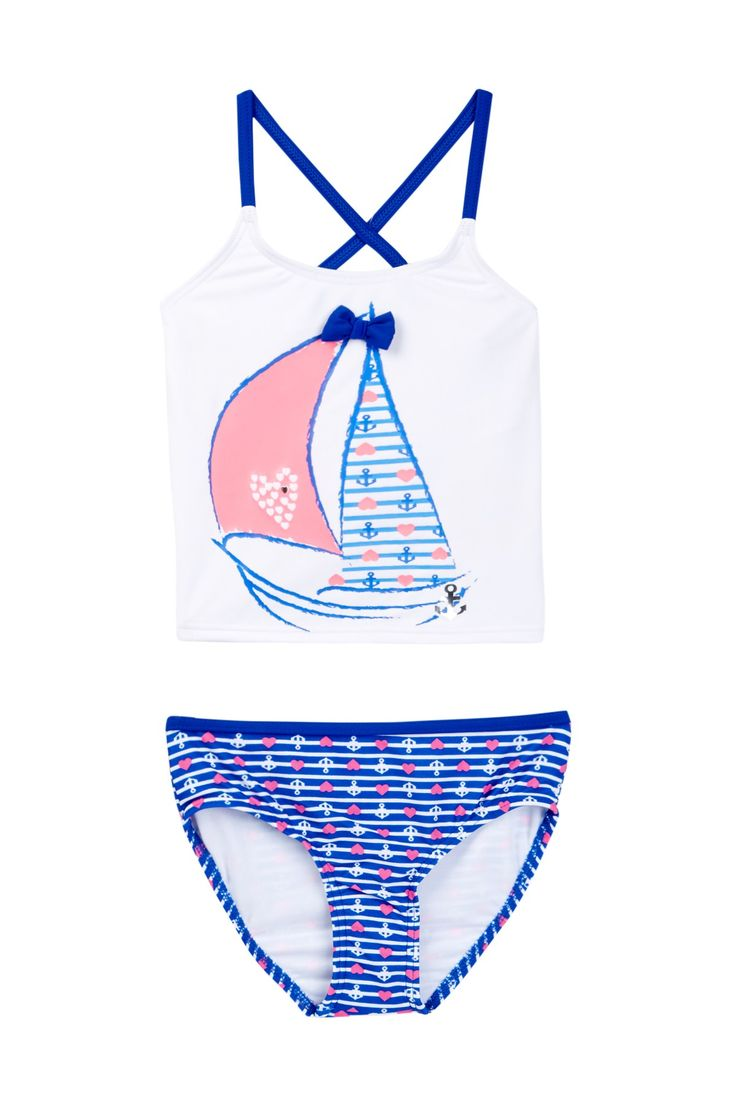 Stripes Away Tankini Set (Little Girls) by Hula Girl on @nordstrom_rack
