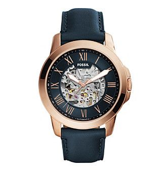 Fossil® Men's Grant Automatic Watch in Rose Goldtone with Navy Leather Strap