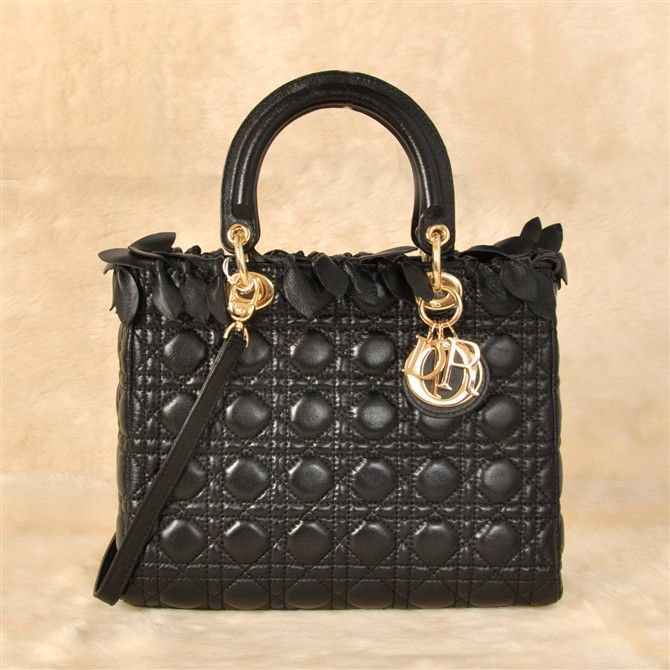 Christian Dior Quilted Lady Top Handle Bag With Black Sheepskin Leather 3088/DIYGNIJA