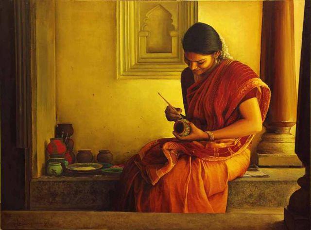 Tamil girl painting a mud pot - Painting by S. Elayaraja