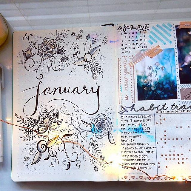 Just started my first bullet journal this year. Here's my January spread  If you want to see a flip through of my bullet journal click the link in my description ♡ #bulletjournal #journaling #planneraddict #planner #handlettering #art #floral #micron #mildliner #youtuber #doodling