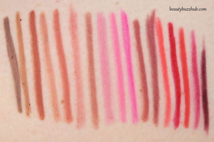 MAC Lip Pencil - swatches from left to right: stone, oak, spice, subculture, boldly bare, dervish, whirl, hip n' happy, silly, embrace me, soar, half red, ablaze, cherry, redd, beet, nightmoth