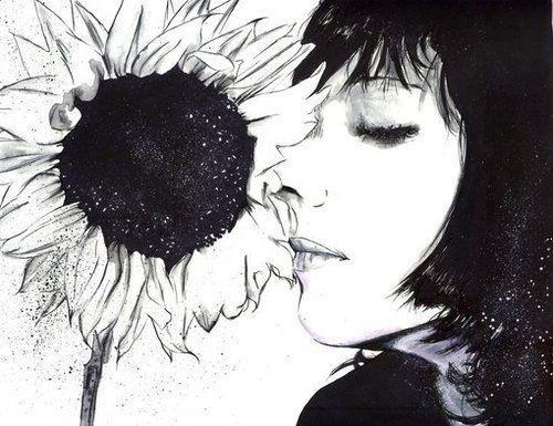aesthetic art draw flower girl