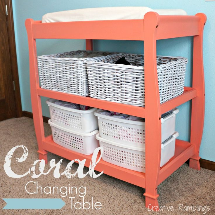 Behr Cool Melon Creative Ramblings | Painted Changing Table |