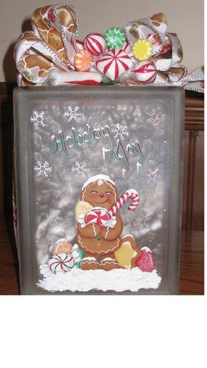 Bloque de cristal iluminado Gingerbread por GrannyKstreasures