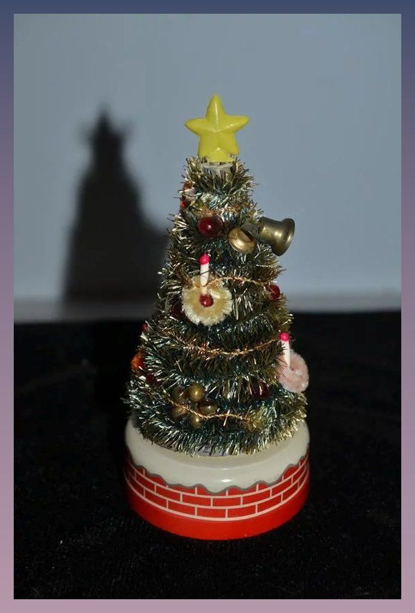 Old Doll Miniature Christmas Tree Battery Operated Miniature ...