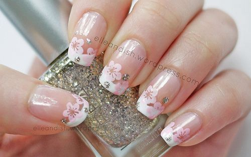 Cherry Blossom French Manicure - Nails & Video Tutorials | elle & ish @ Elizabeth Morris - that would be cute with the ones you were wearing ;-)