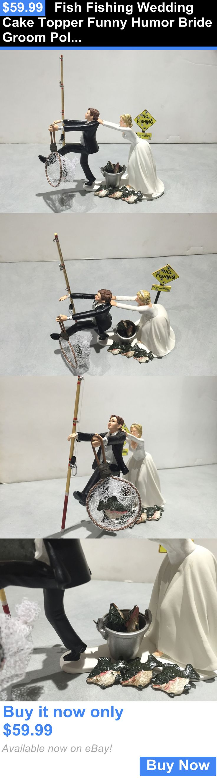 Wedding Cakes Toppers: Fish Fishing Wedding Cake Topper Funny Humor Bride Groom Pole Pail Net Sign BUY IT NOW ONLY: $59.99