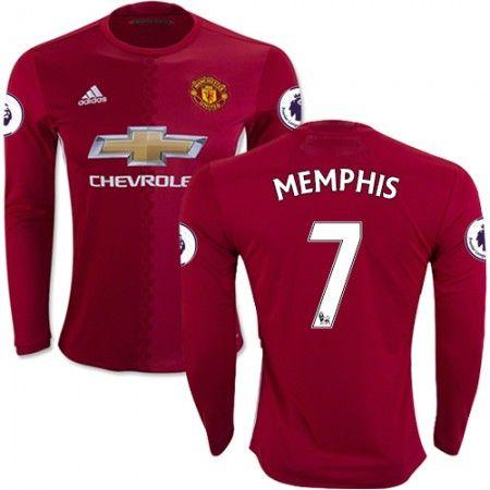 Manchester United 16-17 #Memphis Depay 7 Hemmatröja Långärmad,304,73KR,shirtshopservice@gmail.com