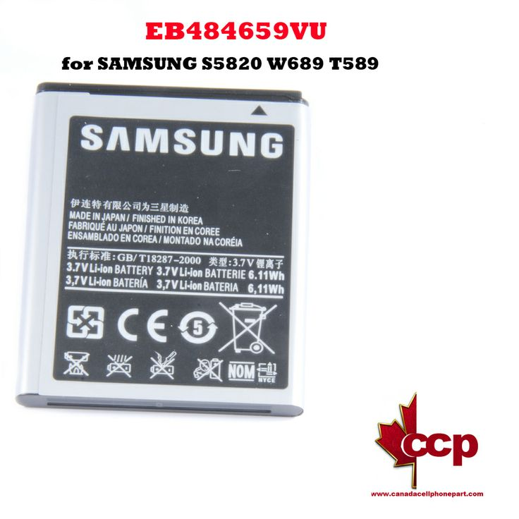 Canada Cell Phone Parts - Battery EB484659VU for SAMSUNG S5820 W689 T589, $13.99 (http://www.canadacellphonepart.com/battery-eb484659vu-for-samsung-s5820-w689-t589/)