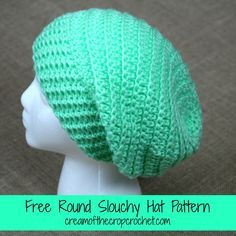Round Slouchy Hat - free crochet pattern by Cream Of The Crop Crochet. Worsted weight.