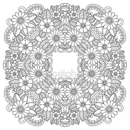 Descargar - Mandala del tatuaje de henna mehndi estilo. Modelo para libro de colorear. Ilustración de vector dibujado a mano aislada sobre fondo blanco. Elemento de diseño en estilo de garabatos — Ilustración de stock #123497676