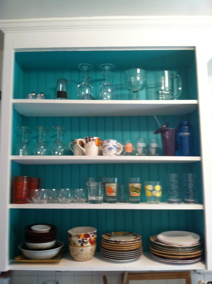 Cabinets, Inside kitchen cabinets and Teal on Pinterest
