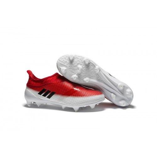 2016 Botas de fútbol Adidas Messi marrón,Adidas MESSI 16 Pureagility FG AG Botas de fútbol rojo blanco negro