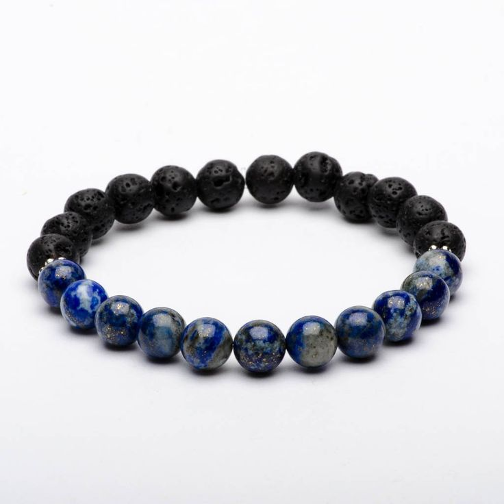 Mala Beads Bracelet Lapis Lazuli Gemstones Starry Night