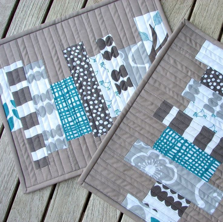 Modern Quilted Rug Mug Small Snack Placemat Gray Teal Lotta Jansdotter