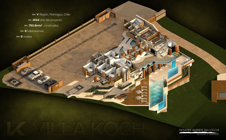 La Villa Koch Se trata de un proyecto de vivienda con algo más de 750m2 construidos en un solar de 5000m2, estrecho y largo, con pendiente en descenso hacia el nor-poniente. El mandante, planteó el encargo de su casa con la voluntad de construir una obra contemporánea en madera, su personalidad y las características propias de una vivienda en la costa dieron como resultado una vivienda con grandes y múltiples espacios exteriores que se fusionan con las áreas interiores.