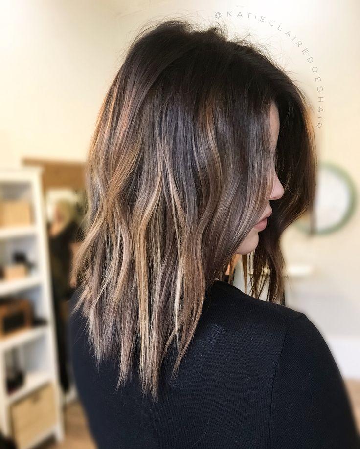 Brown balayage // chocolate brown hair // caramel highlights
