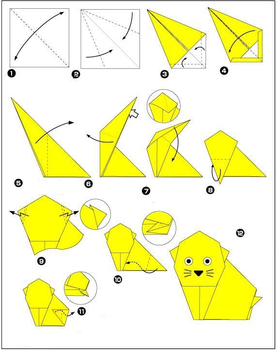 Origami for Beginners | origami lieve poesje Origami lieve poesje