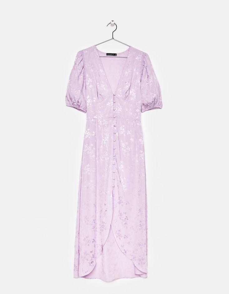 Buttoned satin dress
