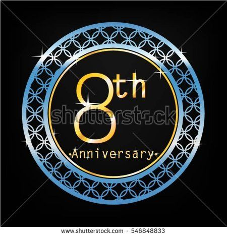 black background and blue circle 8th anniversary for business and various event