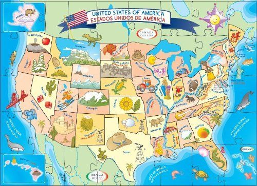 27 best USA Map images on Pinterest  Illustrated maps Jigsaw
