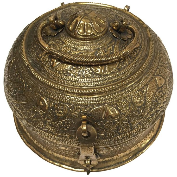 Decorative Large Round Anglo-Indian Brass Box Tea Caddy | From a unique collection of antique and modern metalwork at https://www.1stdibs.com/furniture/asian-art-furniture/metalwork/