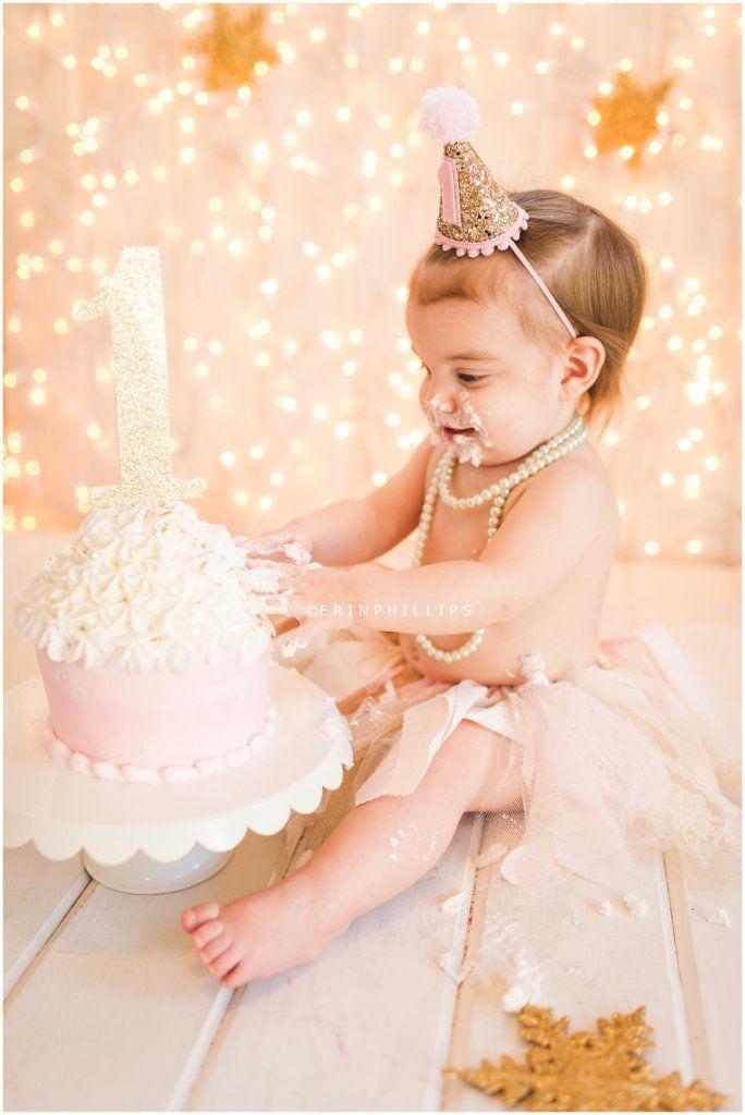 Pink & gold first birthday cake smash Mandeville, LA baby Photographer