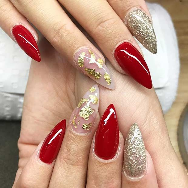 31 Snazzy New Year's Eve Nail Designs: #13. RED AND GOLD STILETTO NAILS - Best 25+ Red And Gold Nails Ideas On Pinterest Gold Tip Nails