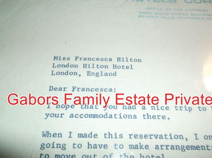 CONRAD H.HILTON-TYPE SIGNED LETTER TO DAUGHTER FRANCESCA HILTON GABOR W/PHOTO